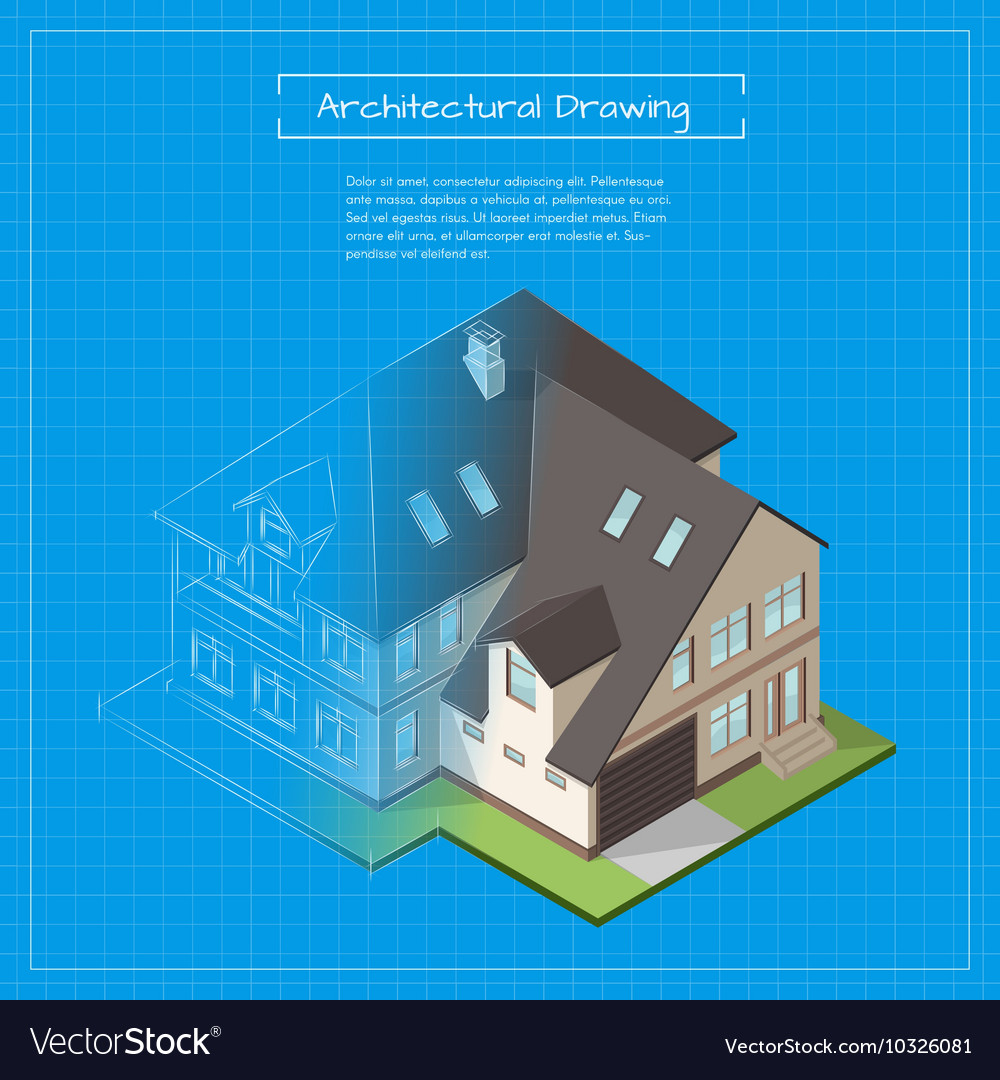 Isometric 3d of city building blueprint vector