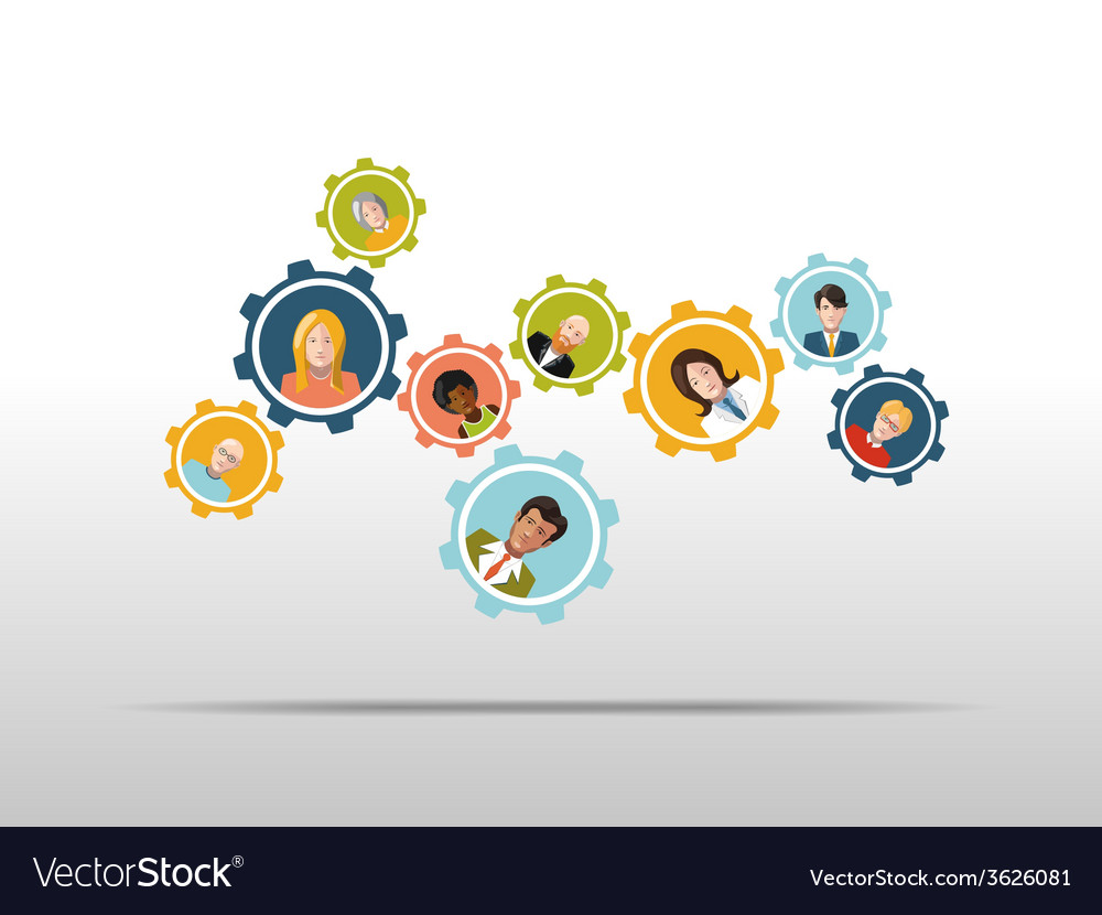 People working in a team as gear mechanism vector