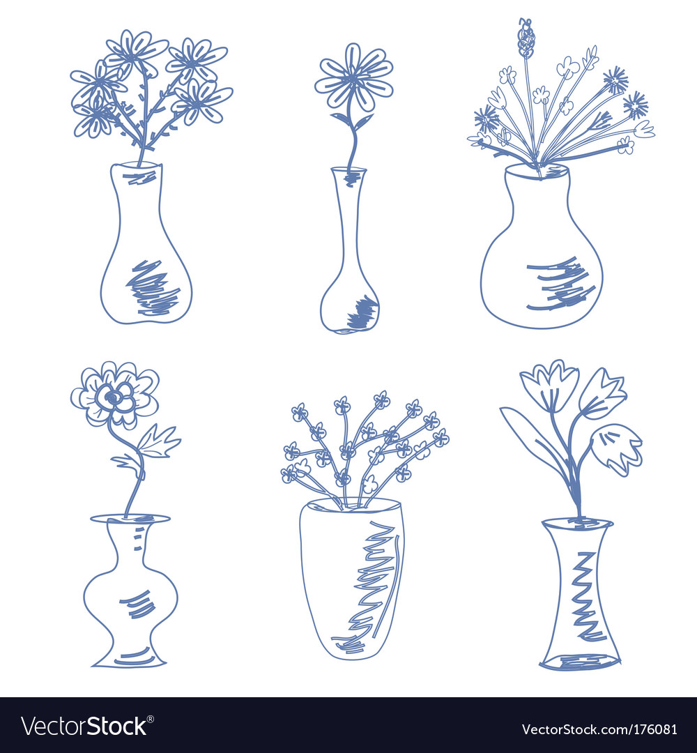 Sketch of vases vector