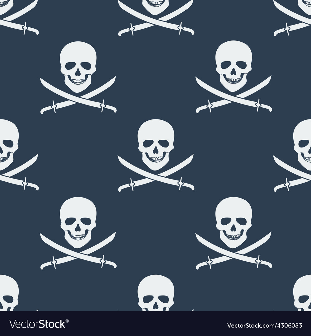 Seamless pattern with jolly roger vector