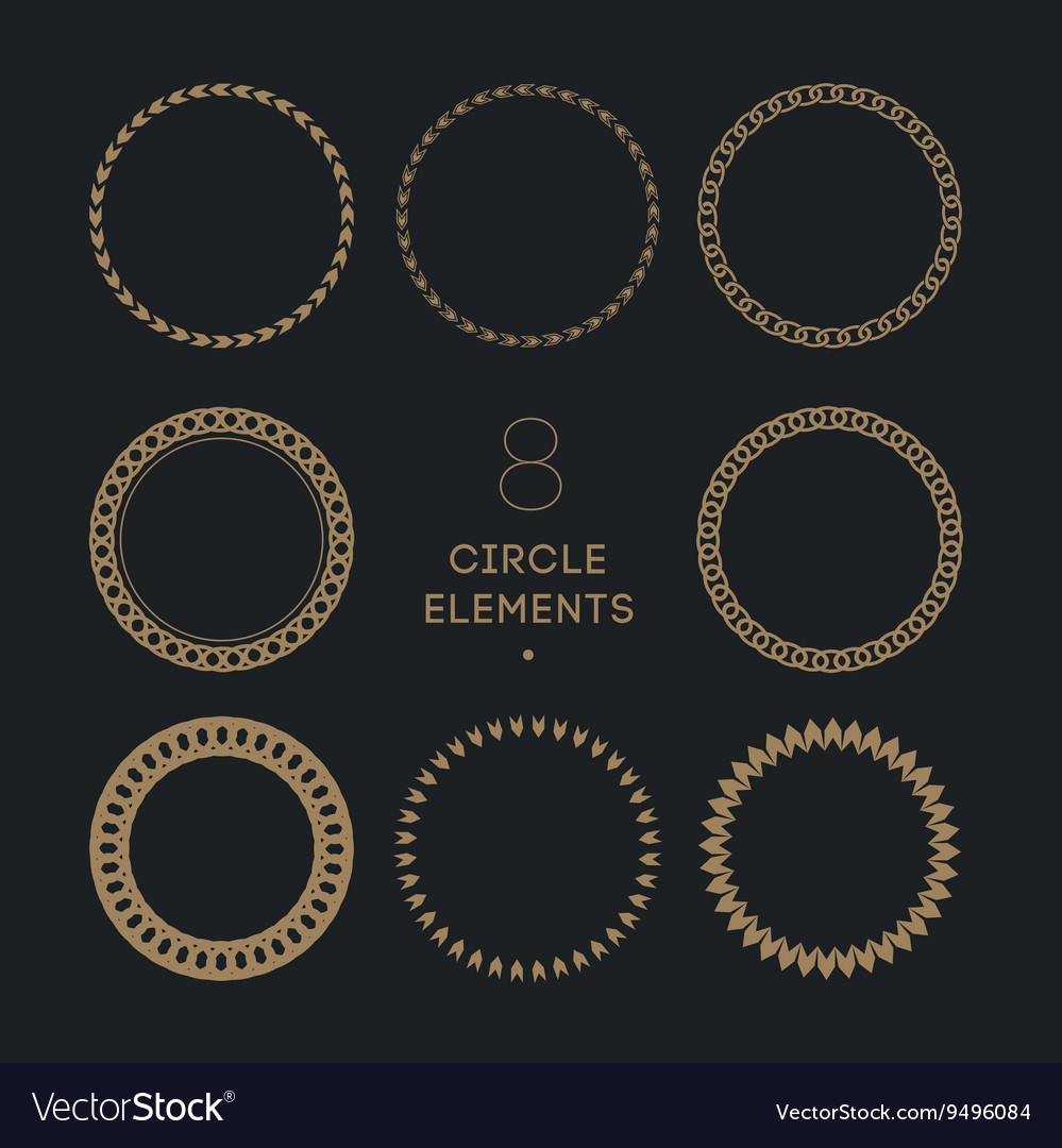 Collection of circle frames chain and vector