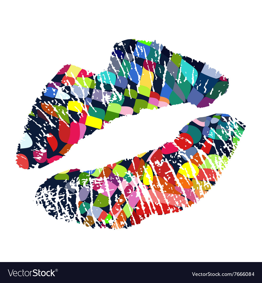 Lipstick kiss on white background vector