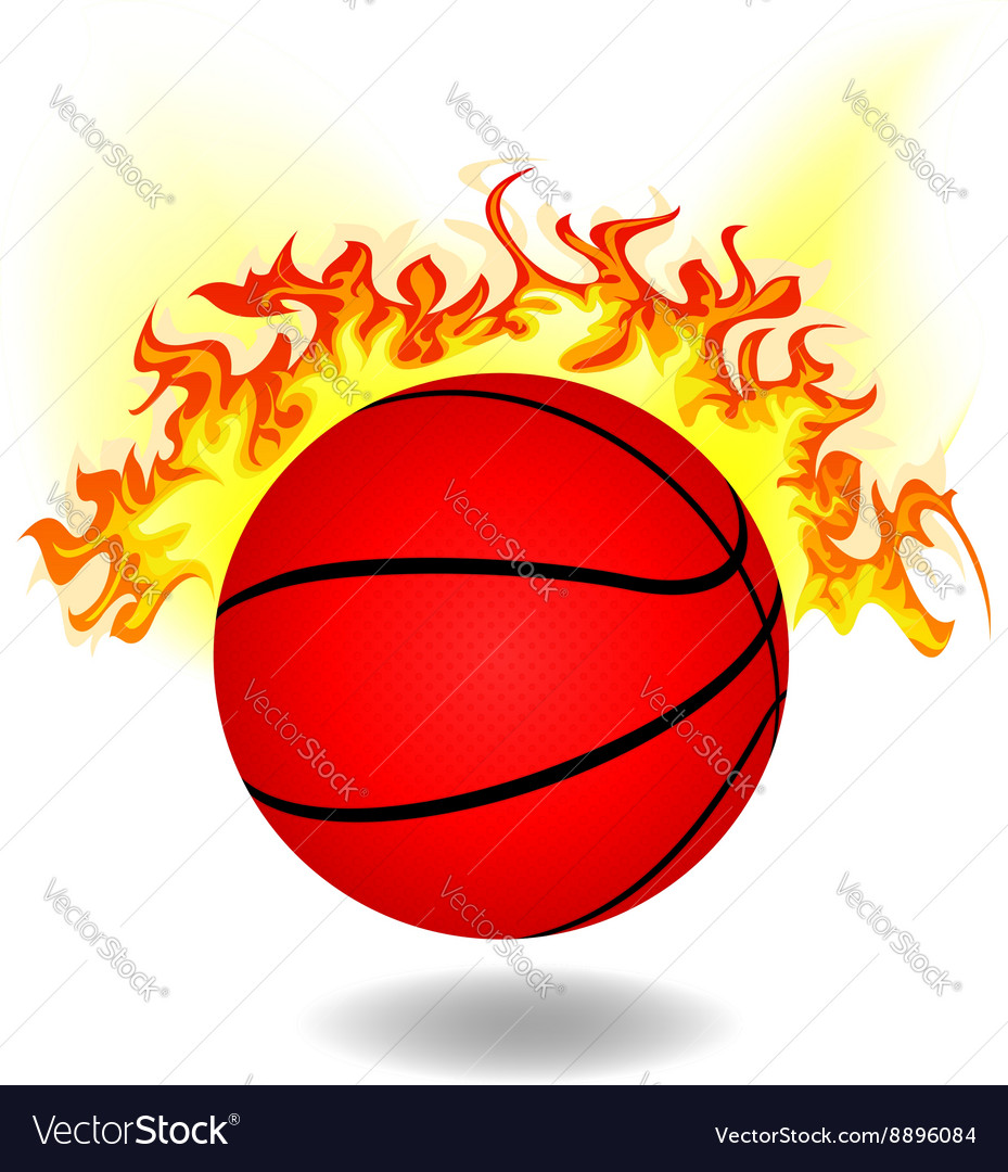 Simple burning basketball vector
