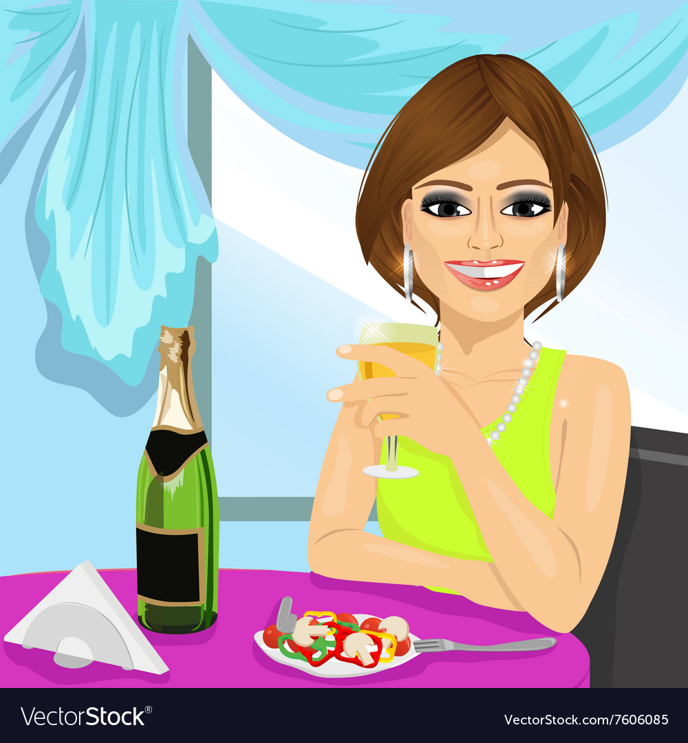 Attractive woman dining at restaurant vector