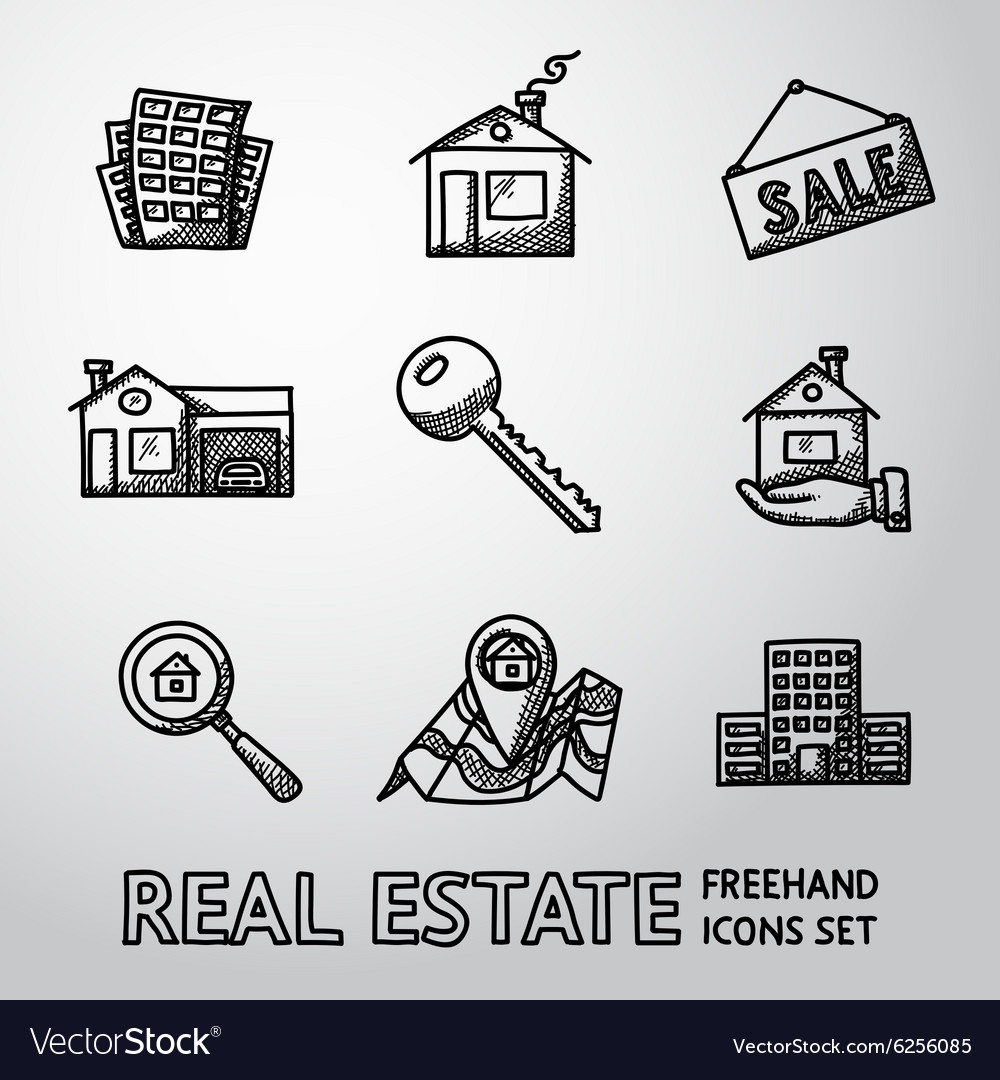 Set of freehand real estate icons  landscape vector