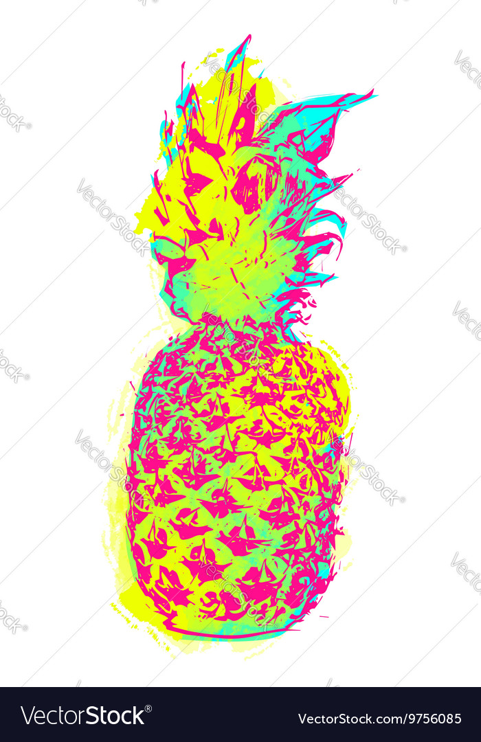 Summer pineapple art in colorful paint style vector