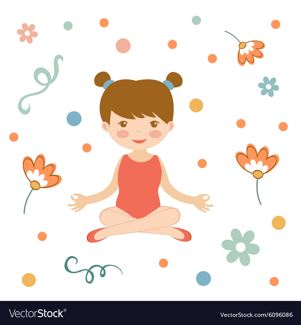 Cute yoga girl vector