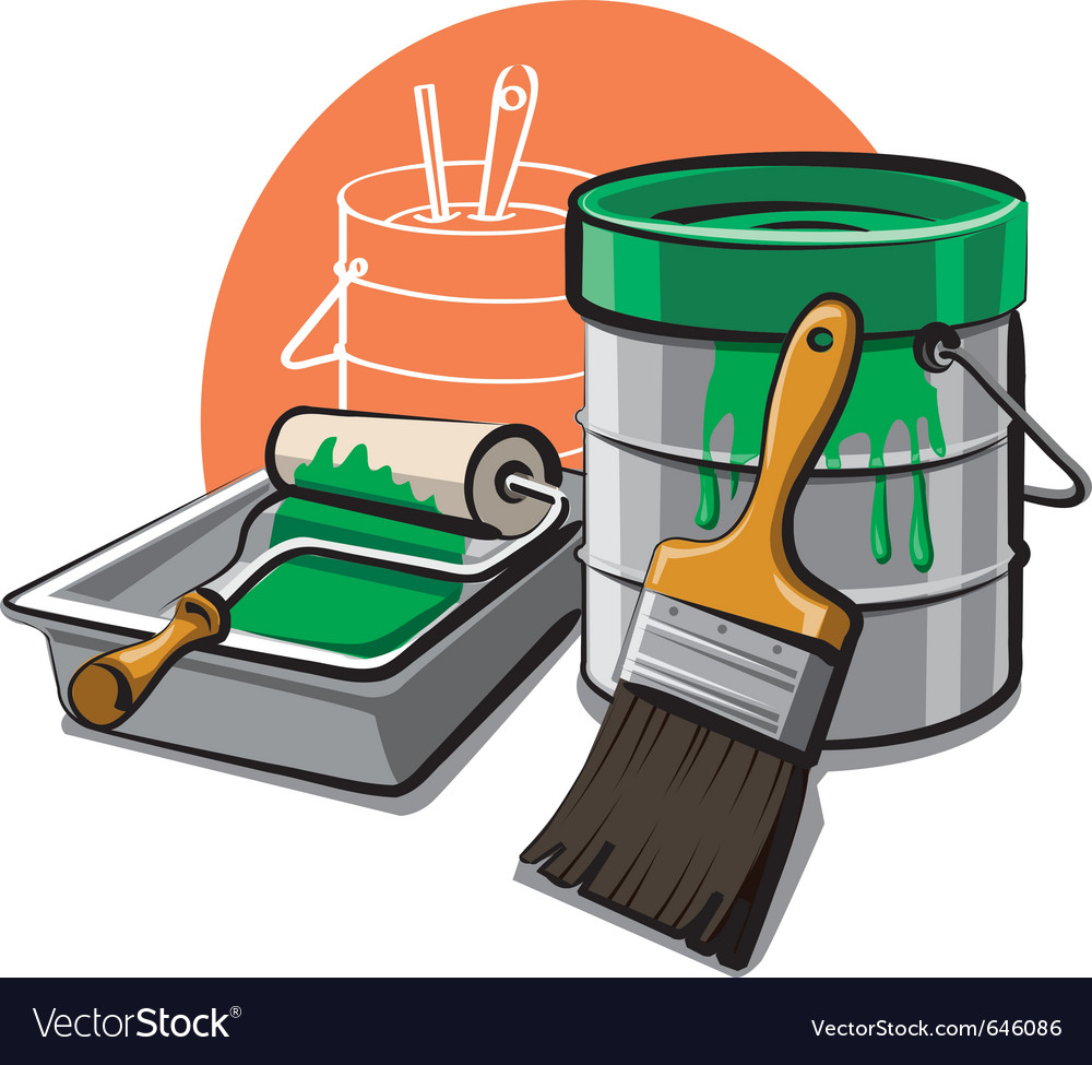 Paint bucket and brush vector