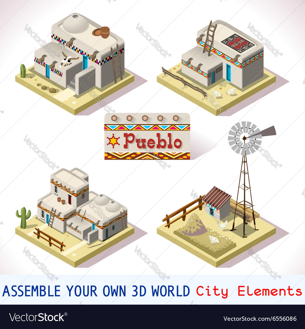 Pueblo tiles 03 set isometric vector