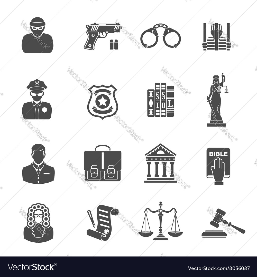Crime and punishment icons vector