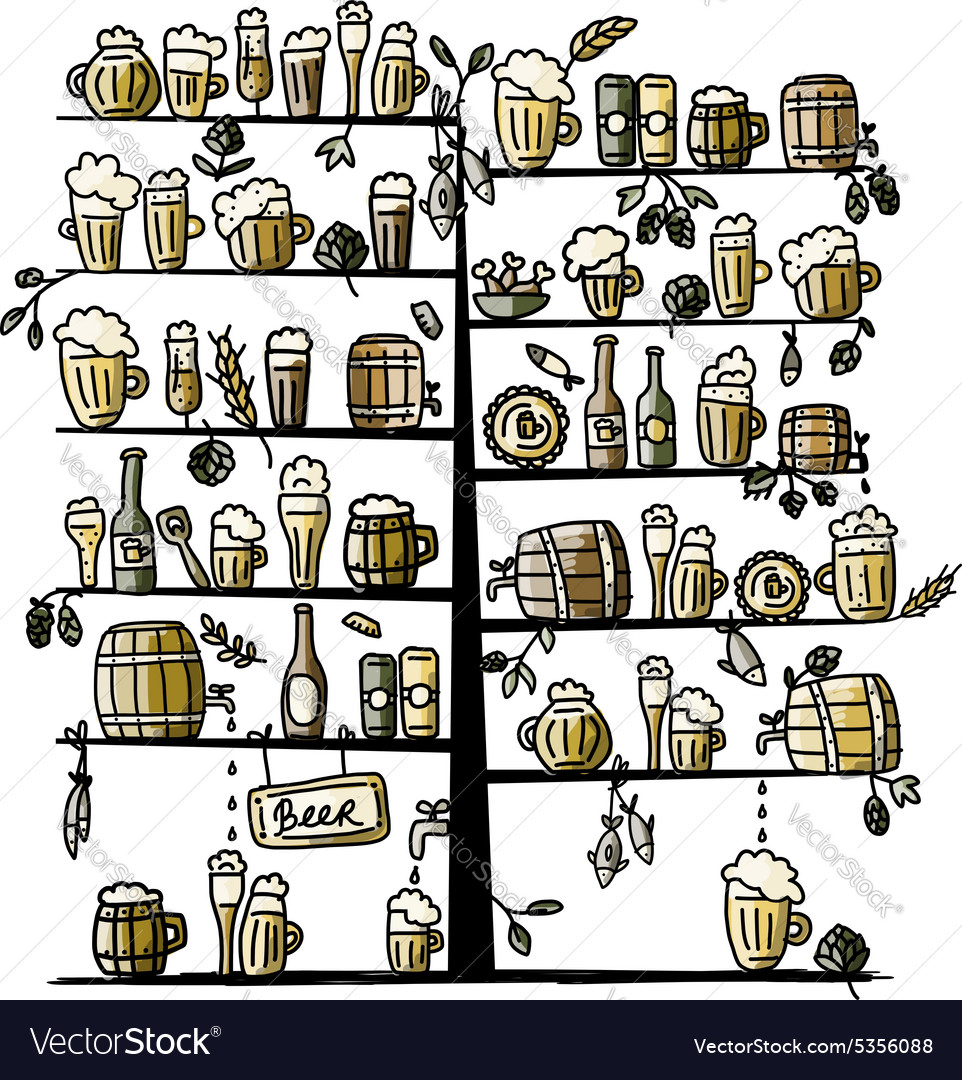 Beer tree sketch for your design vector