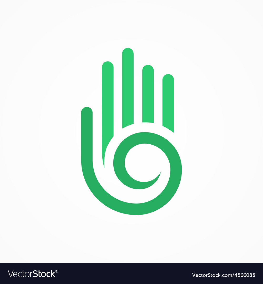 Hand with a spiral symbol vector