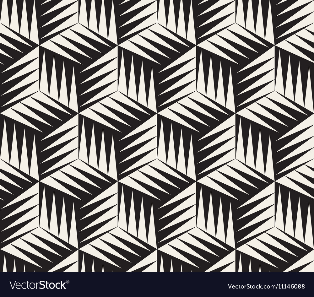 Seamless black and white triangle cubic vector