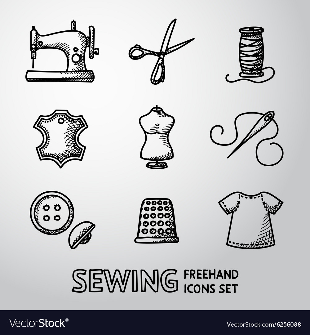 Set of handdrawn sewing icons  machine scissors vector