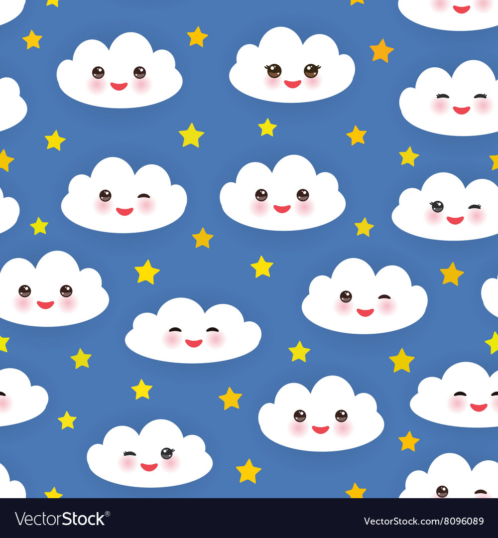 Kawaii funny white clouds set muzzle with pink vector