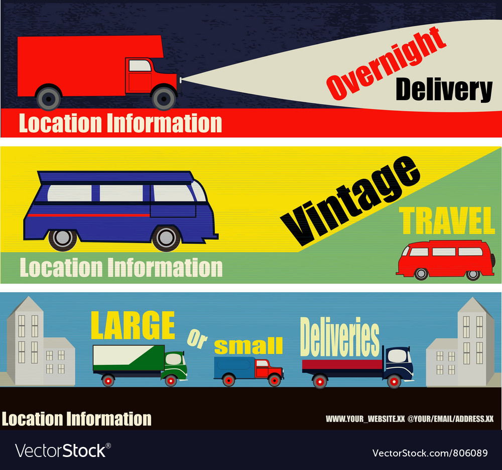 Retro auto delivery web banners vector