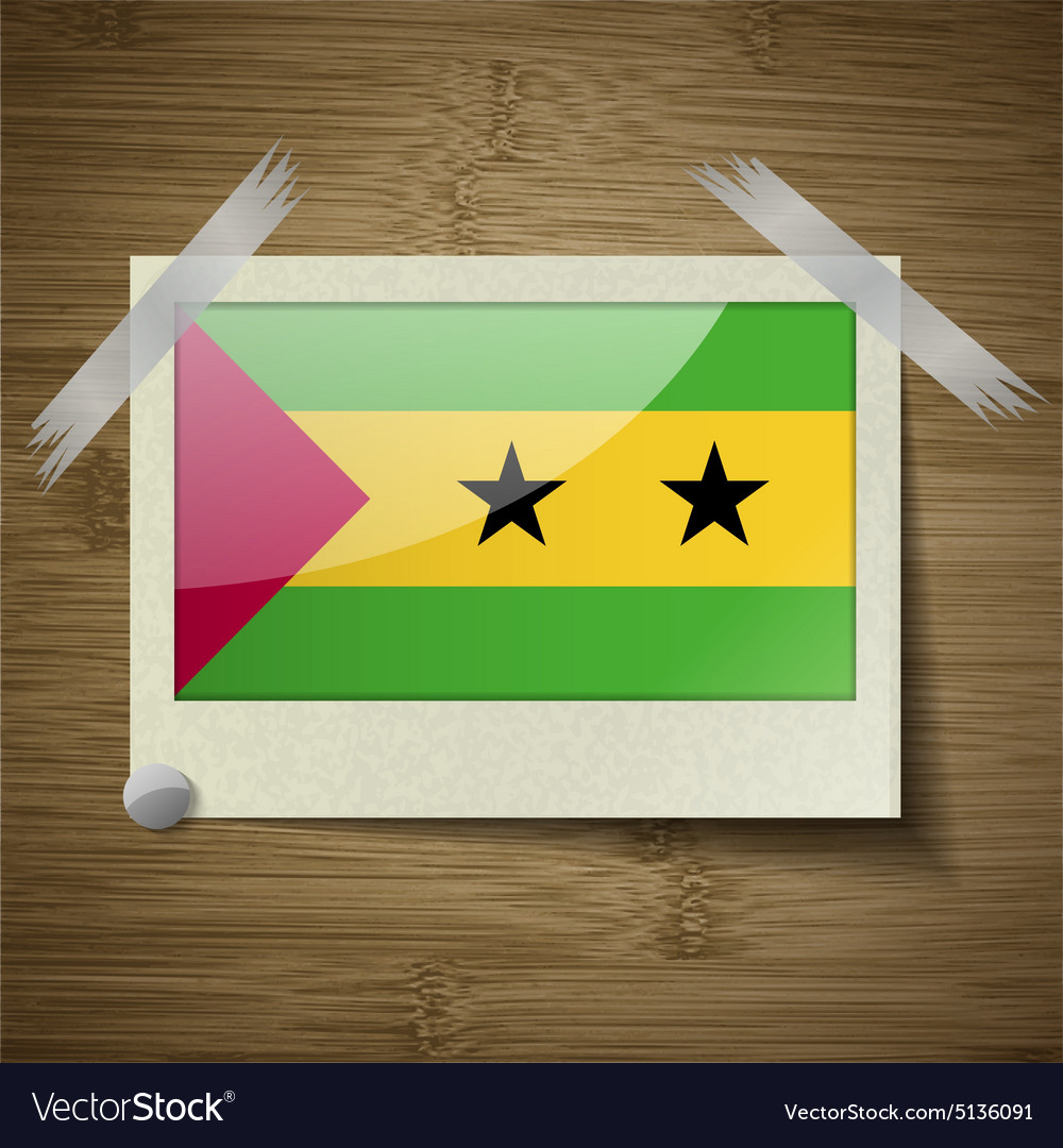 Flags sao tome principe at frame on wooden texture vector