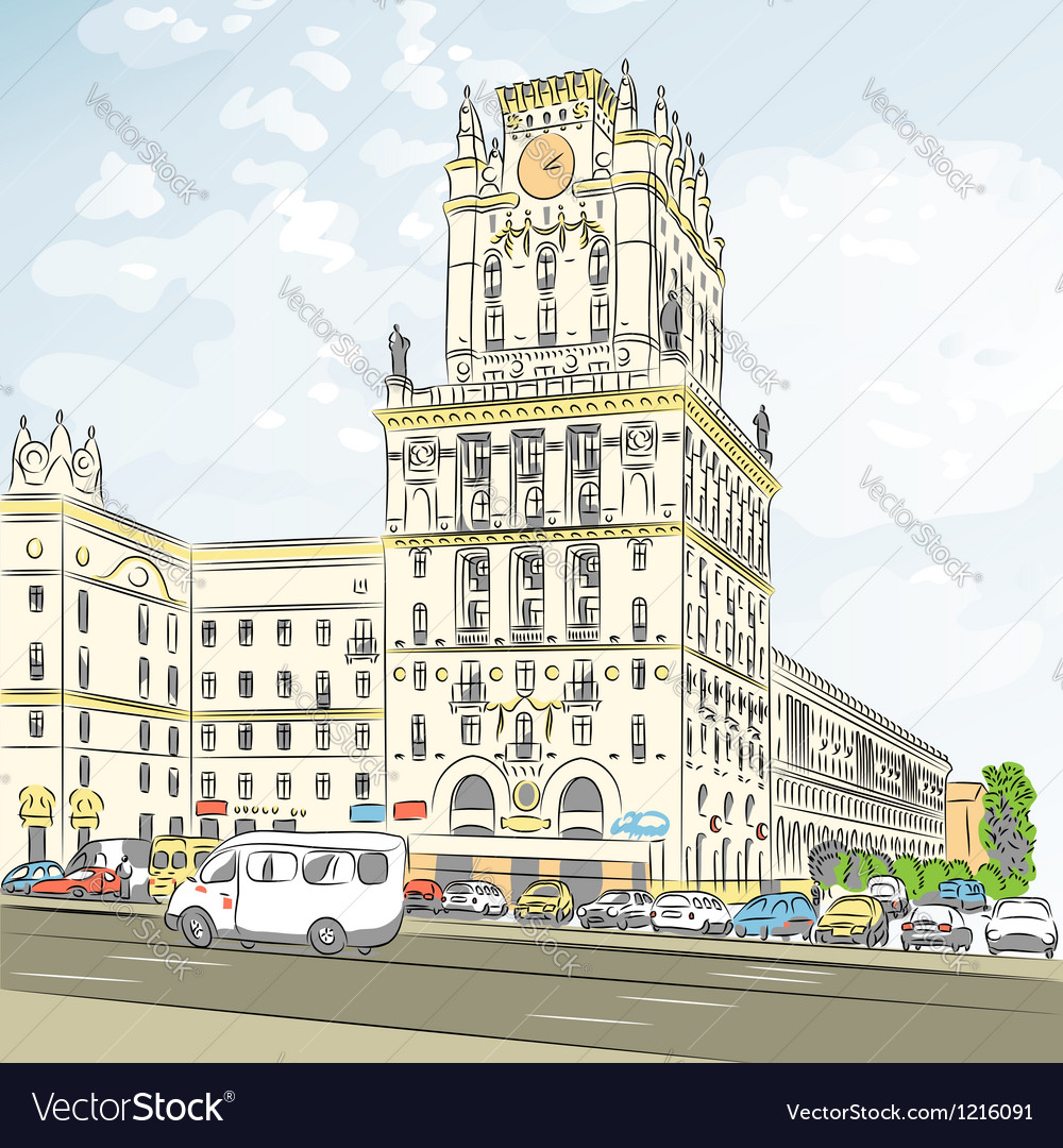 Sketch of a citycenter minsk belarus vector
