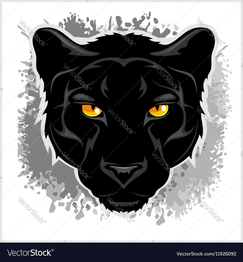 Black panther head  on grunge background vector