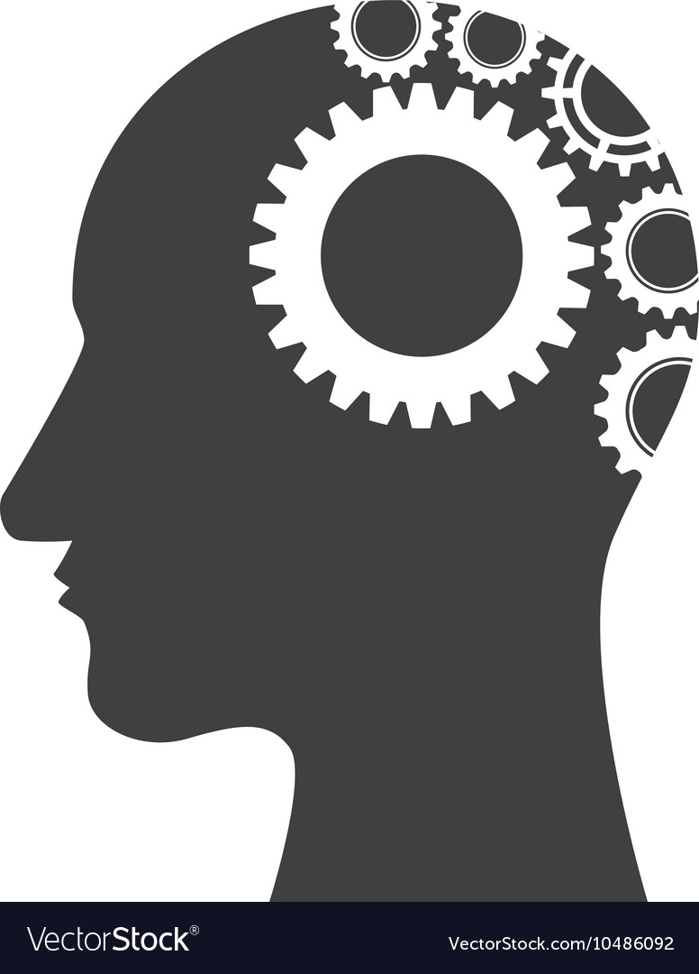 Gears in human head vector