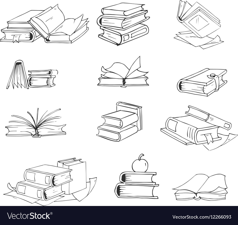 Doodle hand drawn sketch books set vector