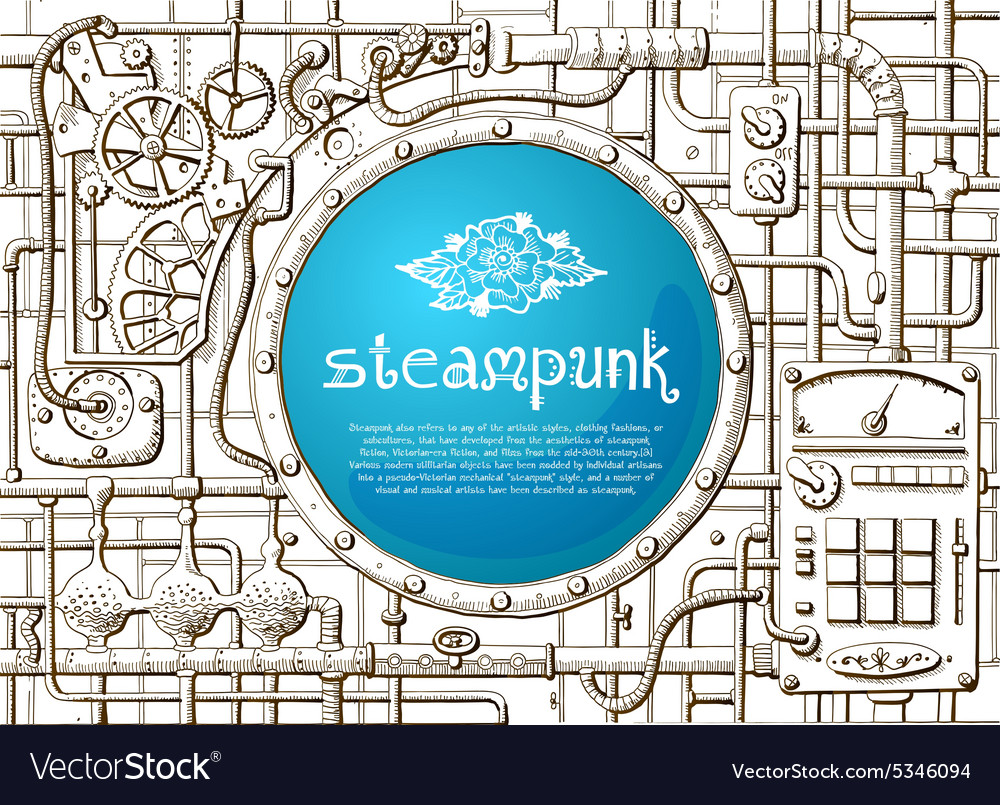 Steampunk frame vector