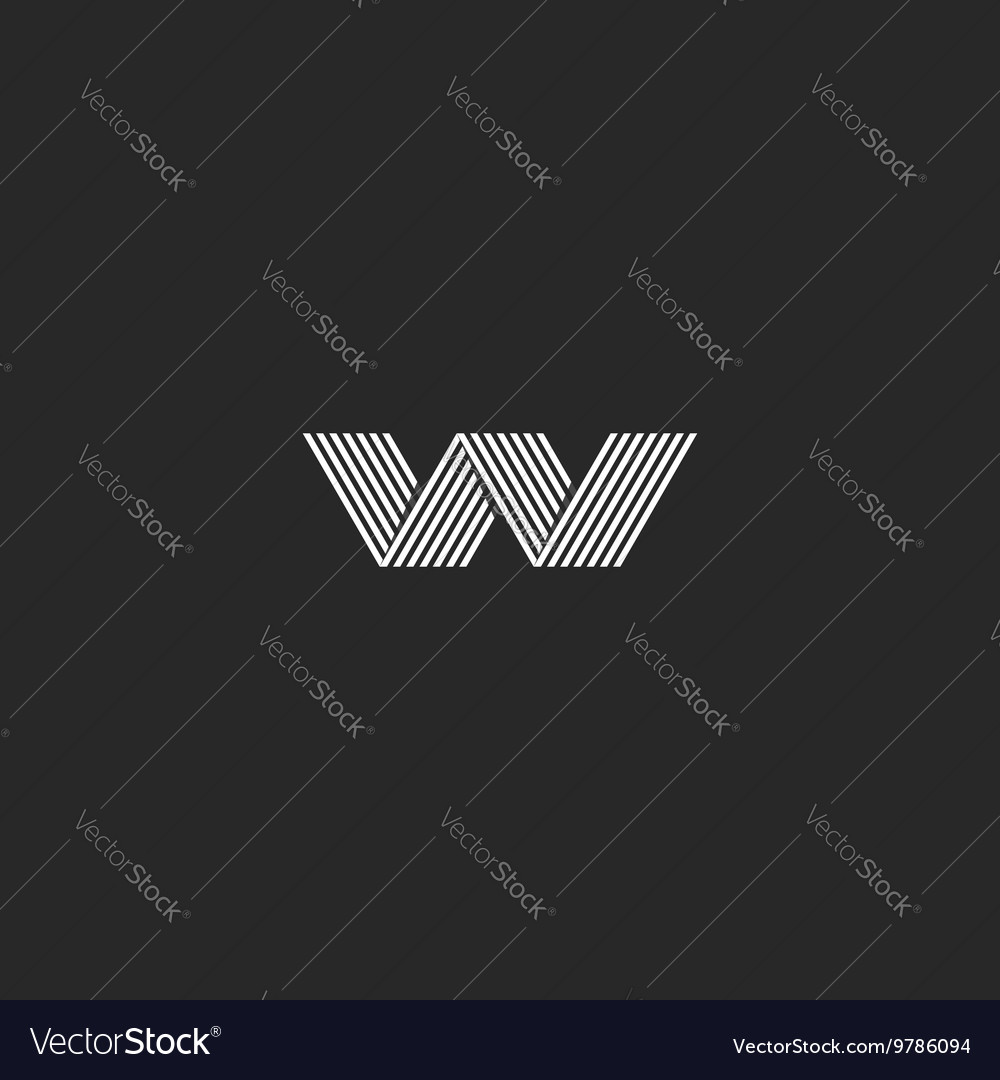 W logo hipster monogram abstract lines shape vector