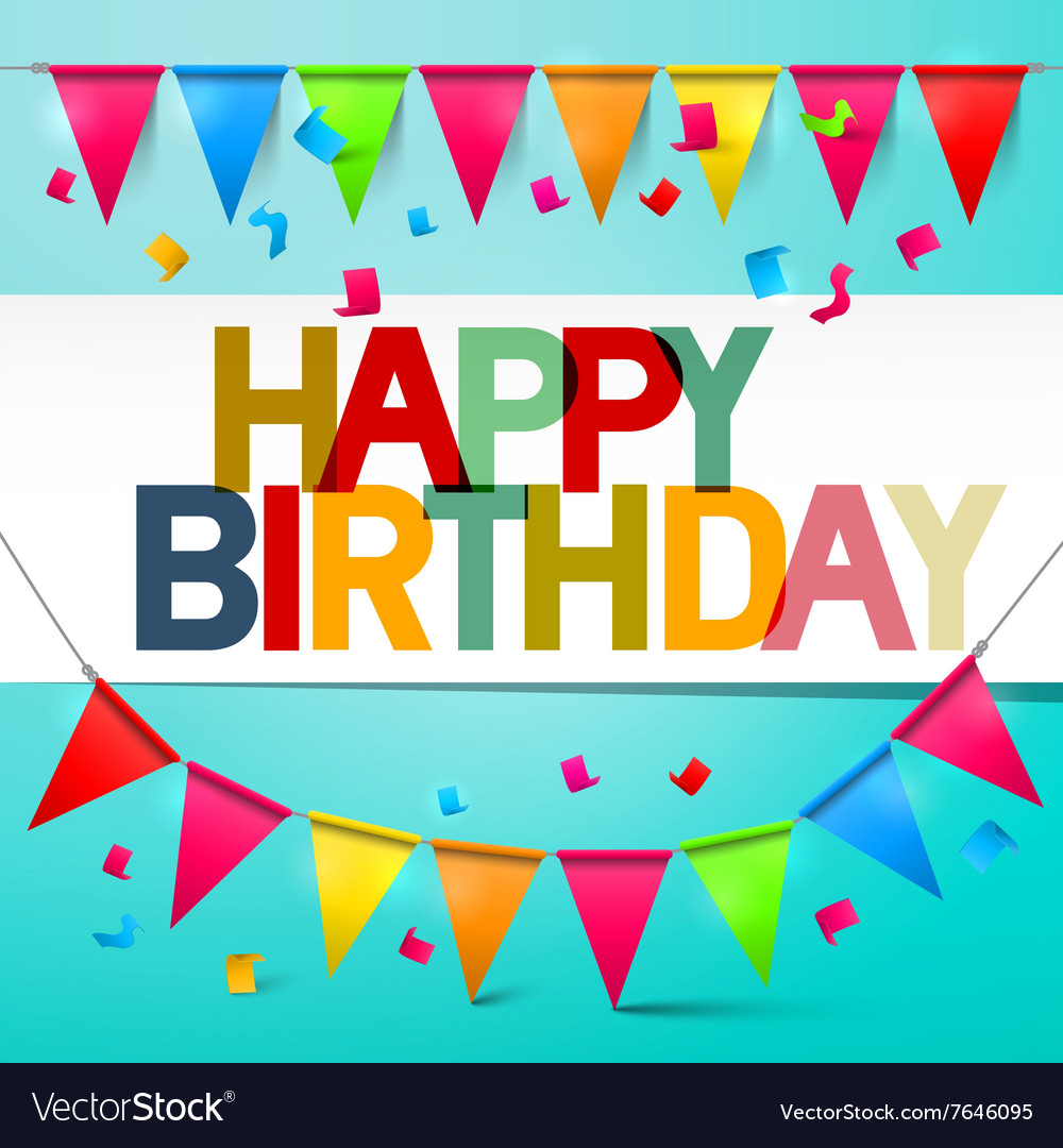 Happy birthday retro colorful card bunting with vector