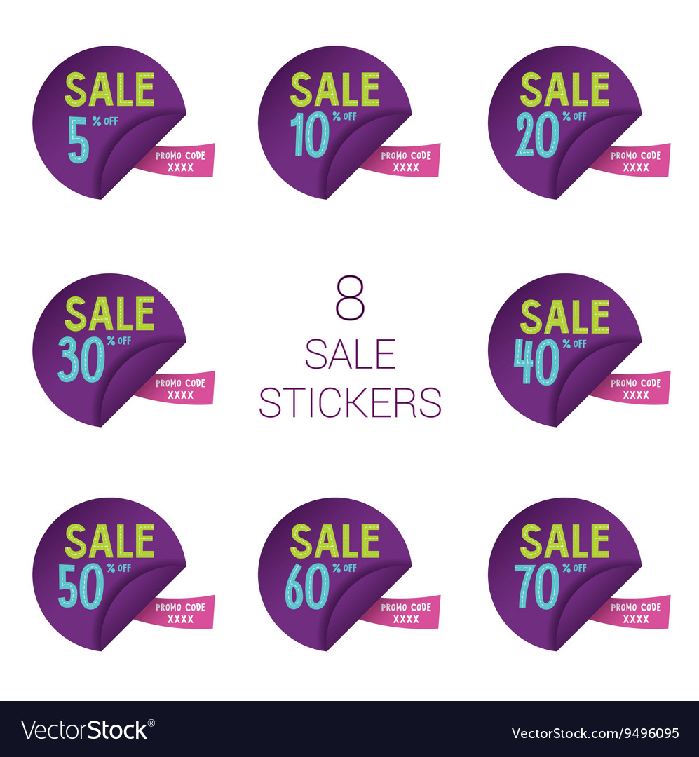 Sale round stickers with discount and promo code vector