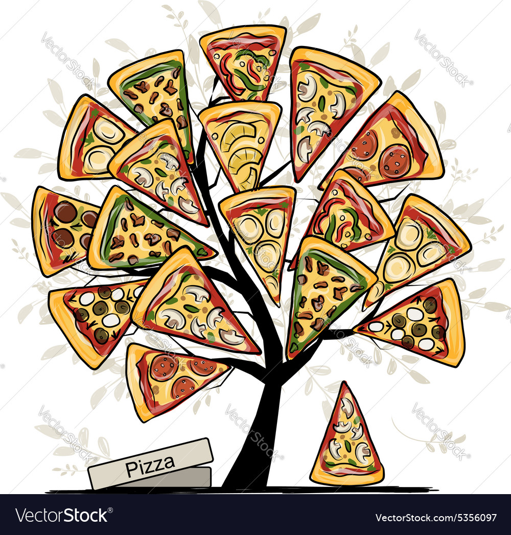 Pizza tree sketch for your design vector