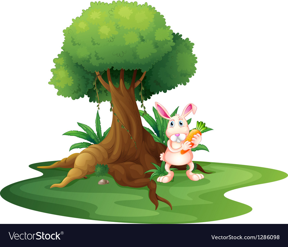 A rabbit with a carrot near the big tree vector