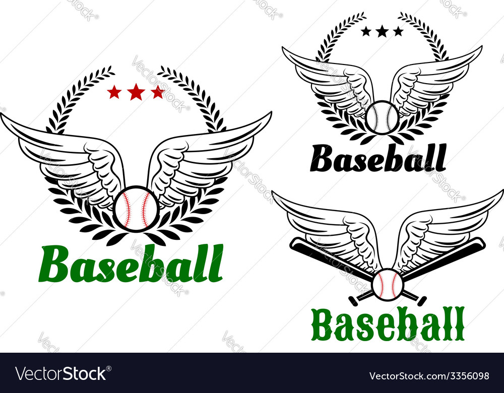 Baseball emblems with angel wings vector