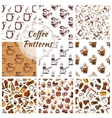 Coffee seamless patterns set vector image