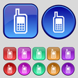 Mobile phone icon sign A set of twelve vintage vector image