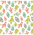 Seamless pattern with floral elements and leaves vector image