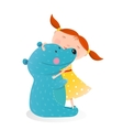 Girl hugging toy cute bear vector image vector image