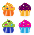 Colorful birthday cakes set isolated on white vector image vector image