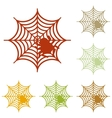 Spider on web Colorful autumn set of vector image