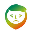 cartoon sad face man beard character vector image