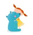 Girl hugging toy cute bear vector image