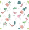 Seamless pretty pattern with stylized treesfoxes vector image