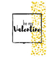valentines day card with gold glitter hearts vector image