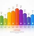 column chart infographic template 9 options vector image