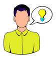 businessman and speech bubble with a bulb icon vector image