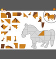 jigsaw puzzle game with pony vector image