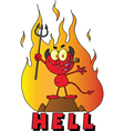 Little Devil Smoking A Cigar Over The Word HELL vector image