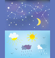 weather elements and backgrounds for day and night vector image