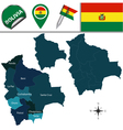 Bolivia map with named divisions vector image vector image