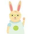 a cartoon portrait of a hare stylized happy vector image