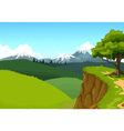beauty mountain cliff with landscape background vector image
